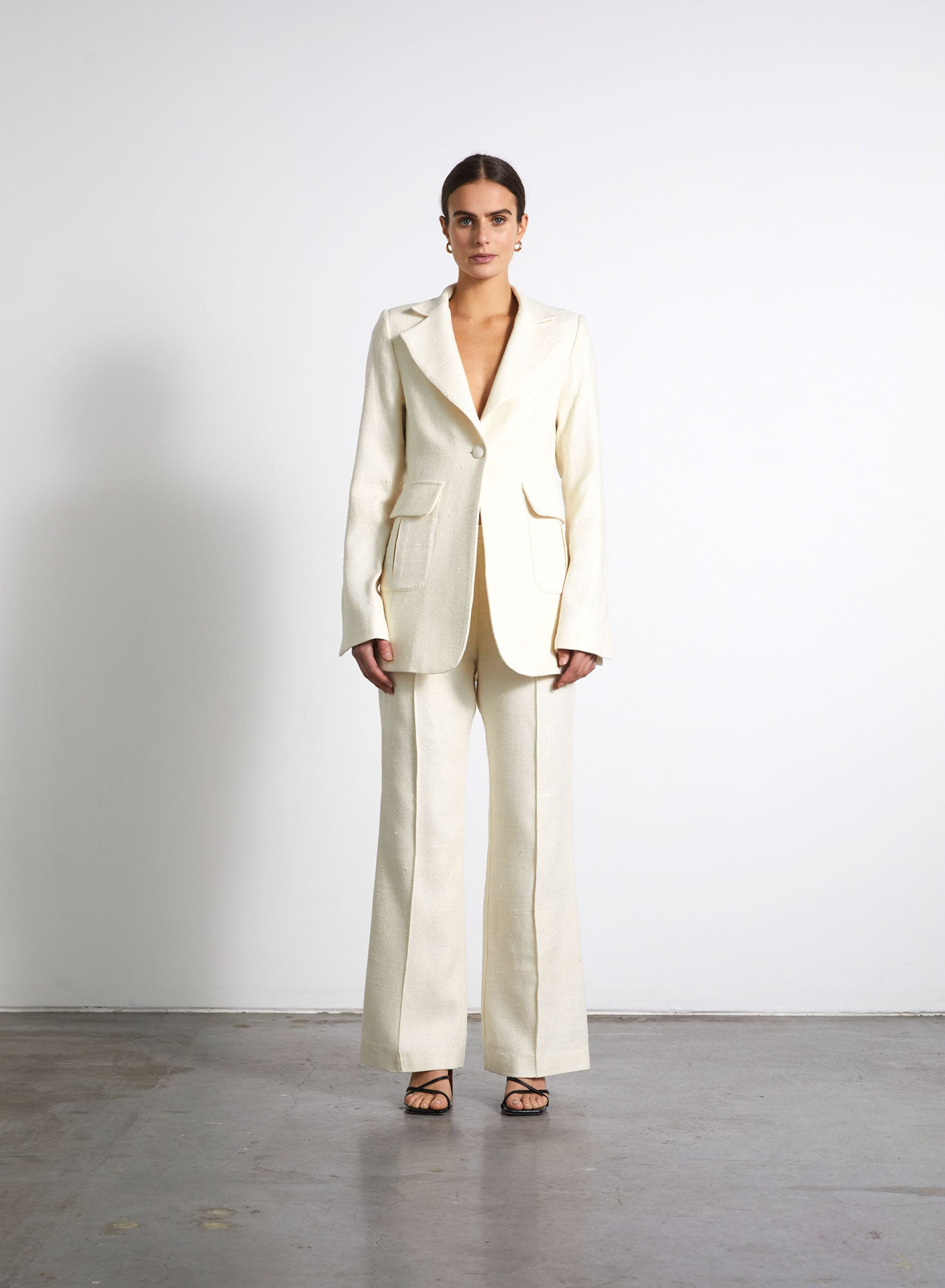 Single Breasted Silk Blazer - Ivory