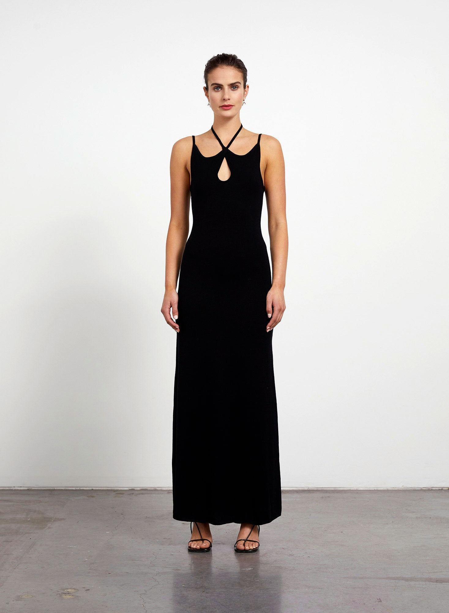Cross Over Silk Knitted Maxi Dress - Black