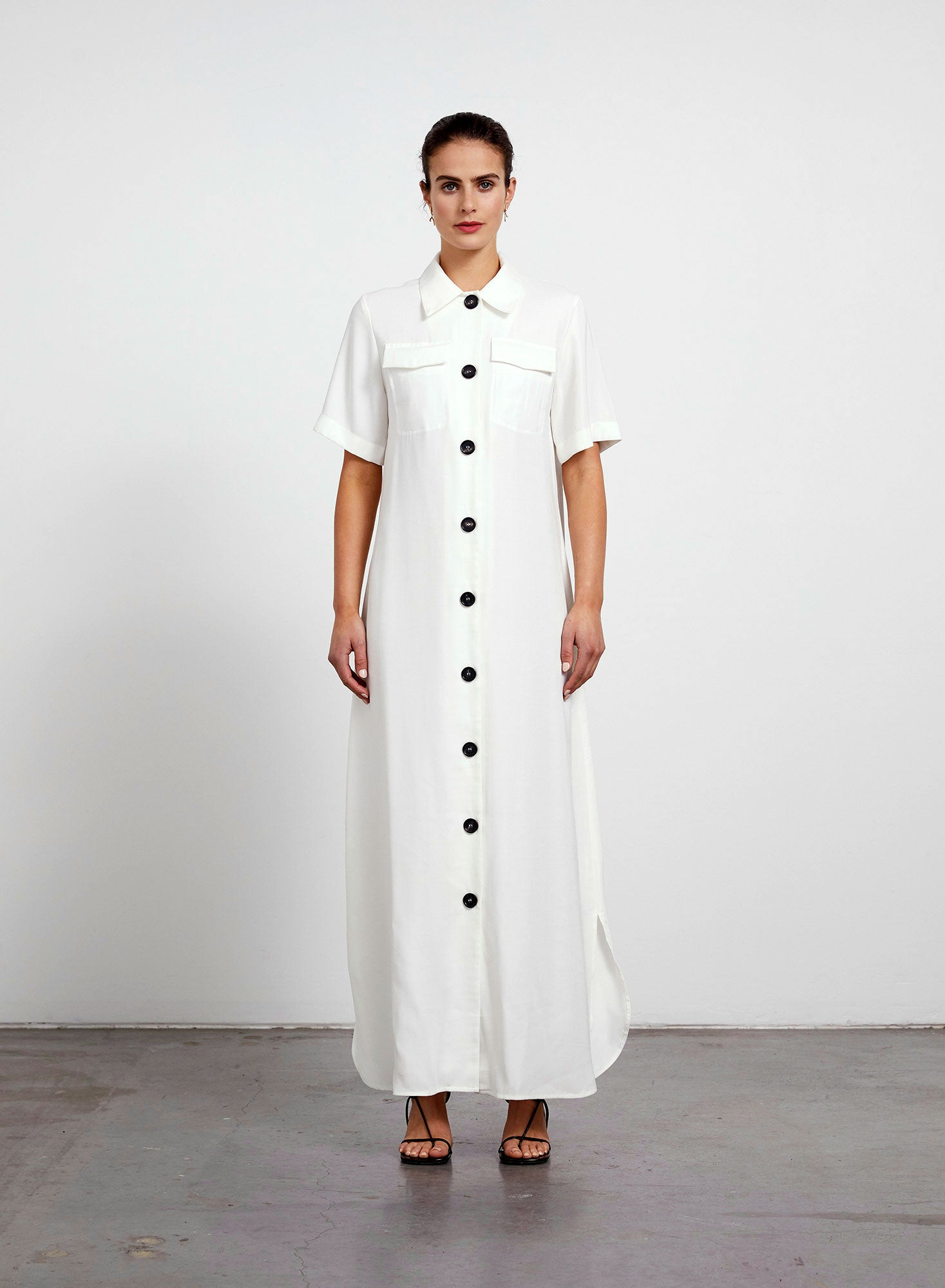 Welt Pocket Shirt Dress - Ivory