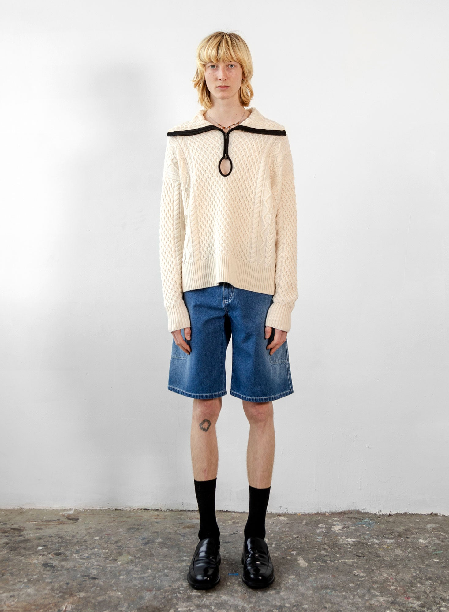 Cable Knit Key Hole Sweater - Ivory