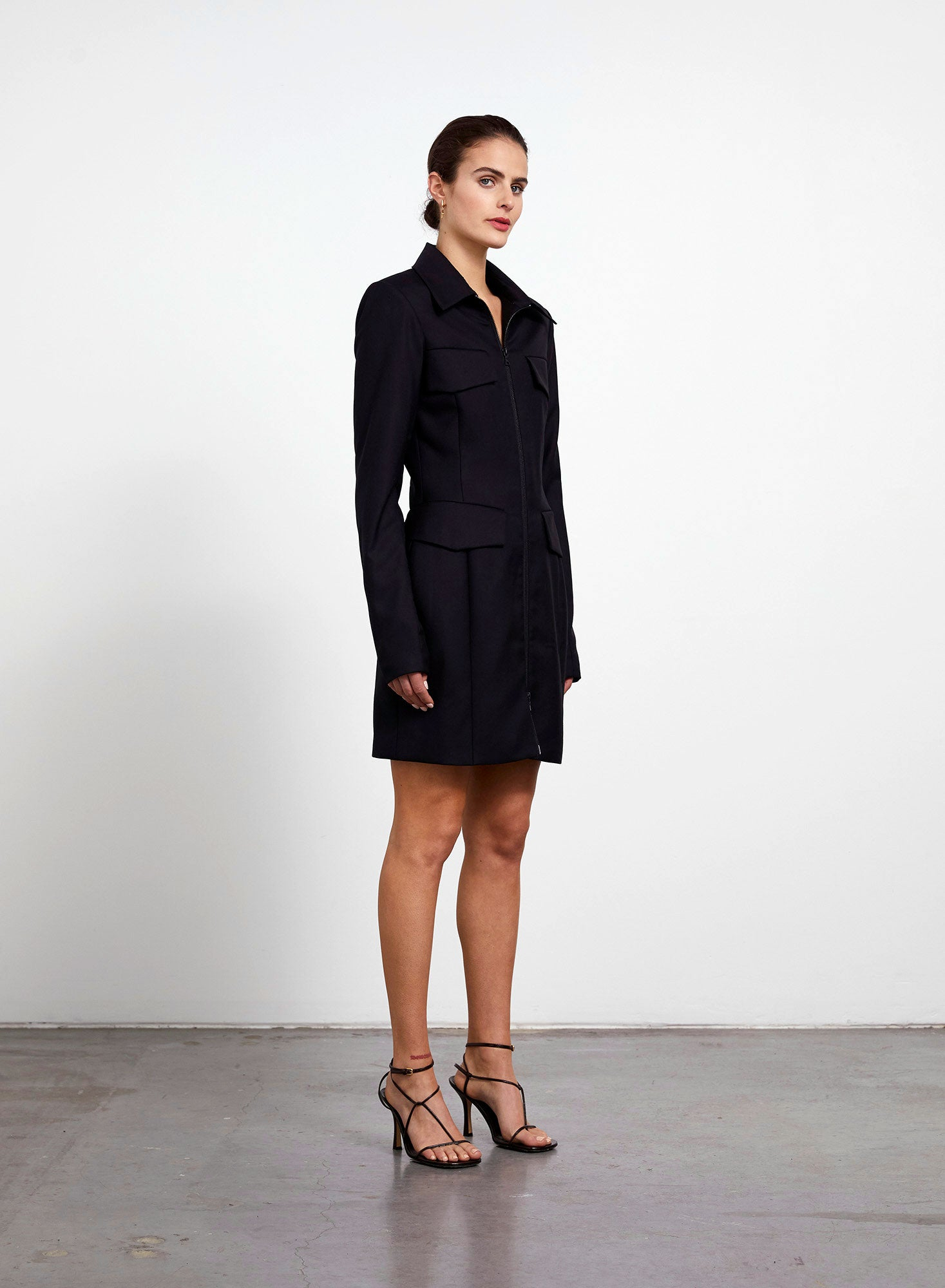 Welt Pocket Blazer Dress - Black