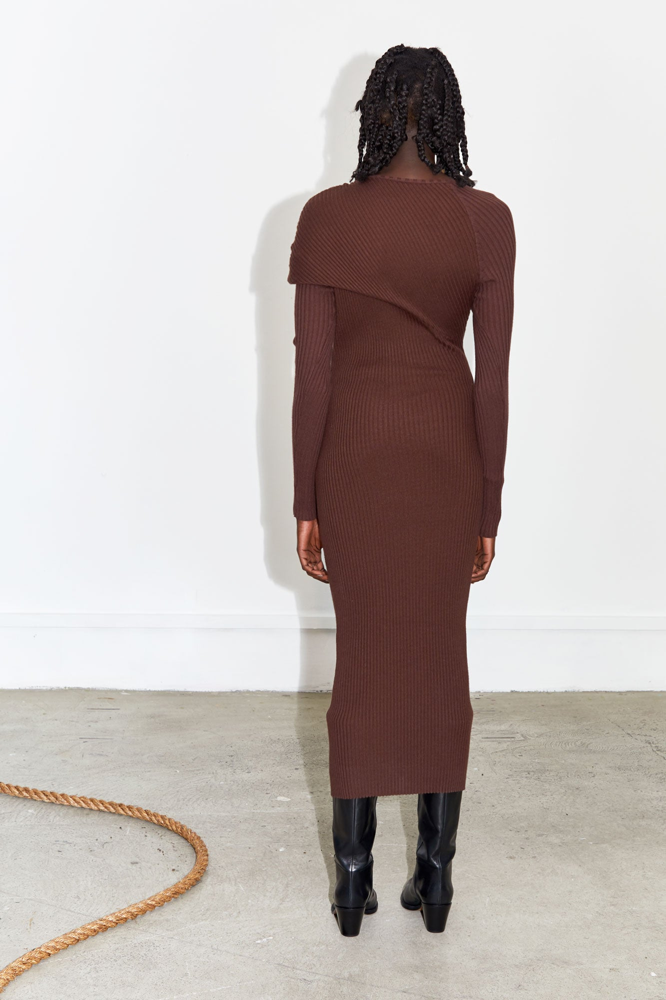 Fold Ribbed Knit Dress - Chocolate