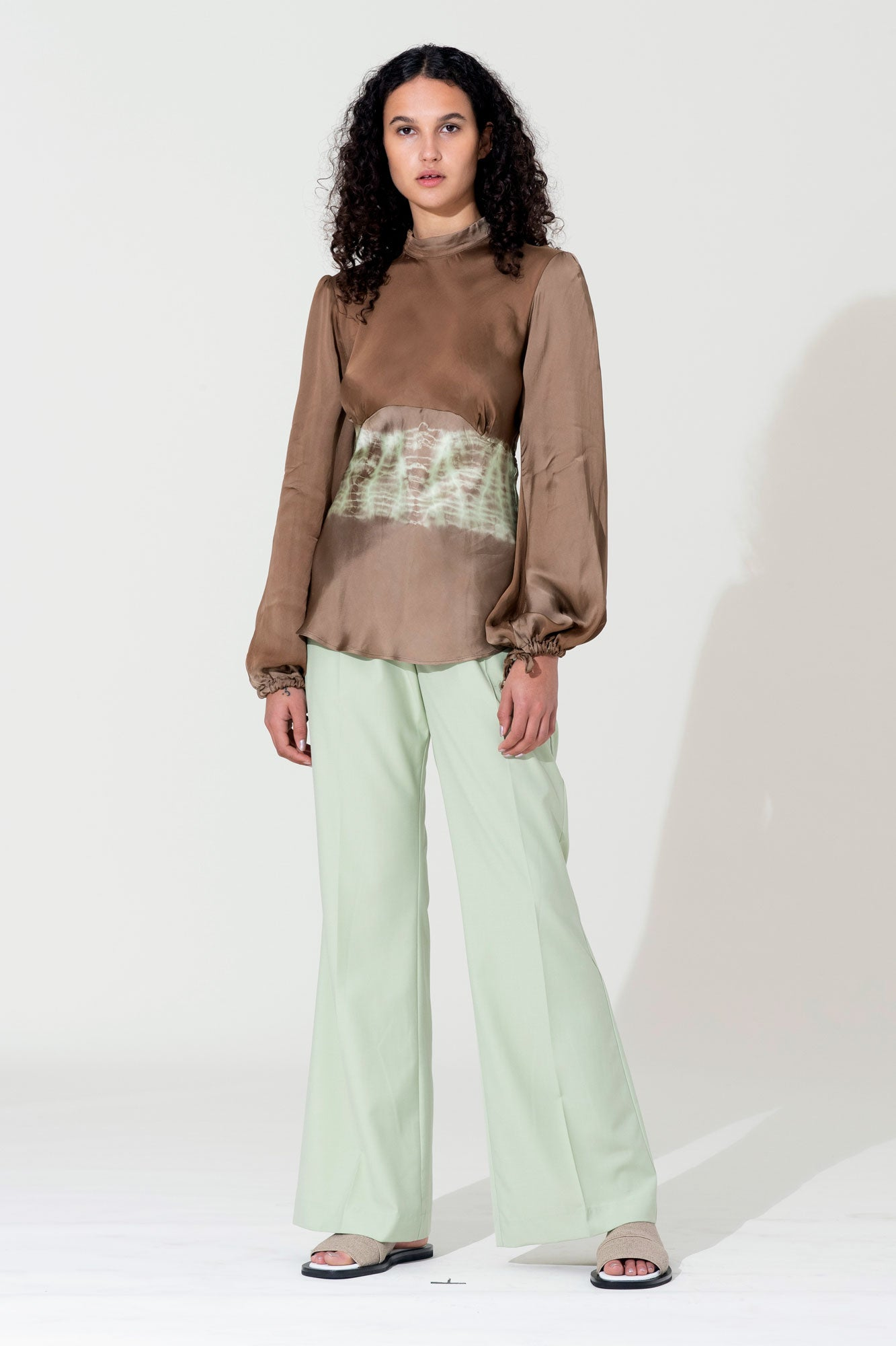 Bias Blouse - Lime / Khaki