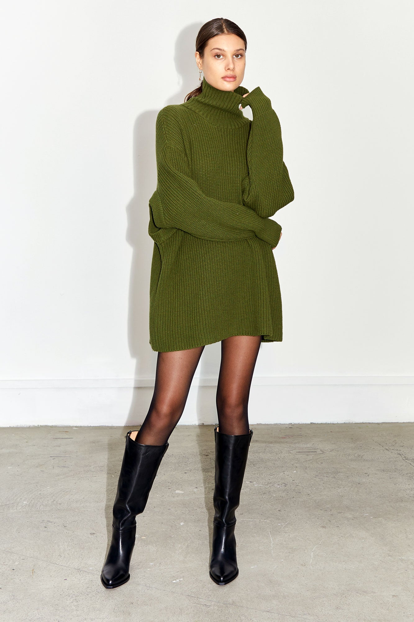 Portal Tie Sweater Dress - Olive