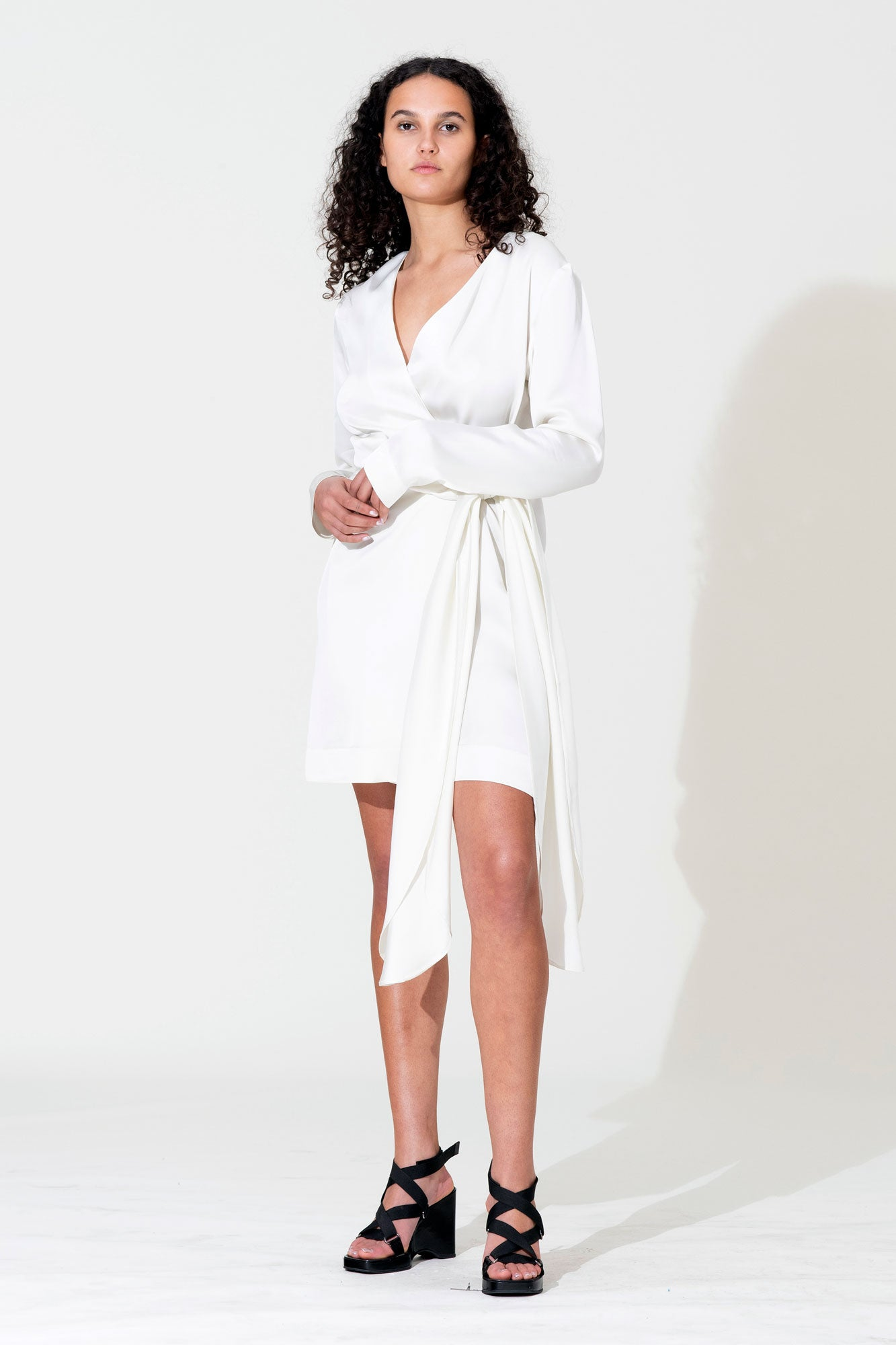 Bow Wrap Mini Dress - White