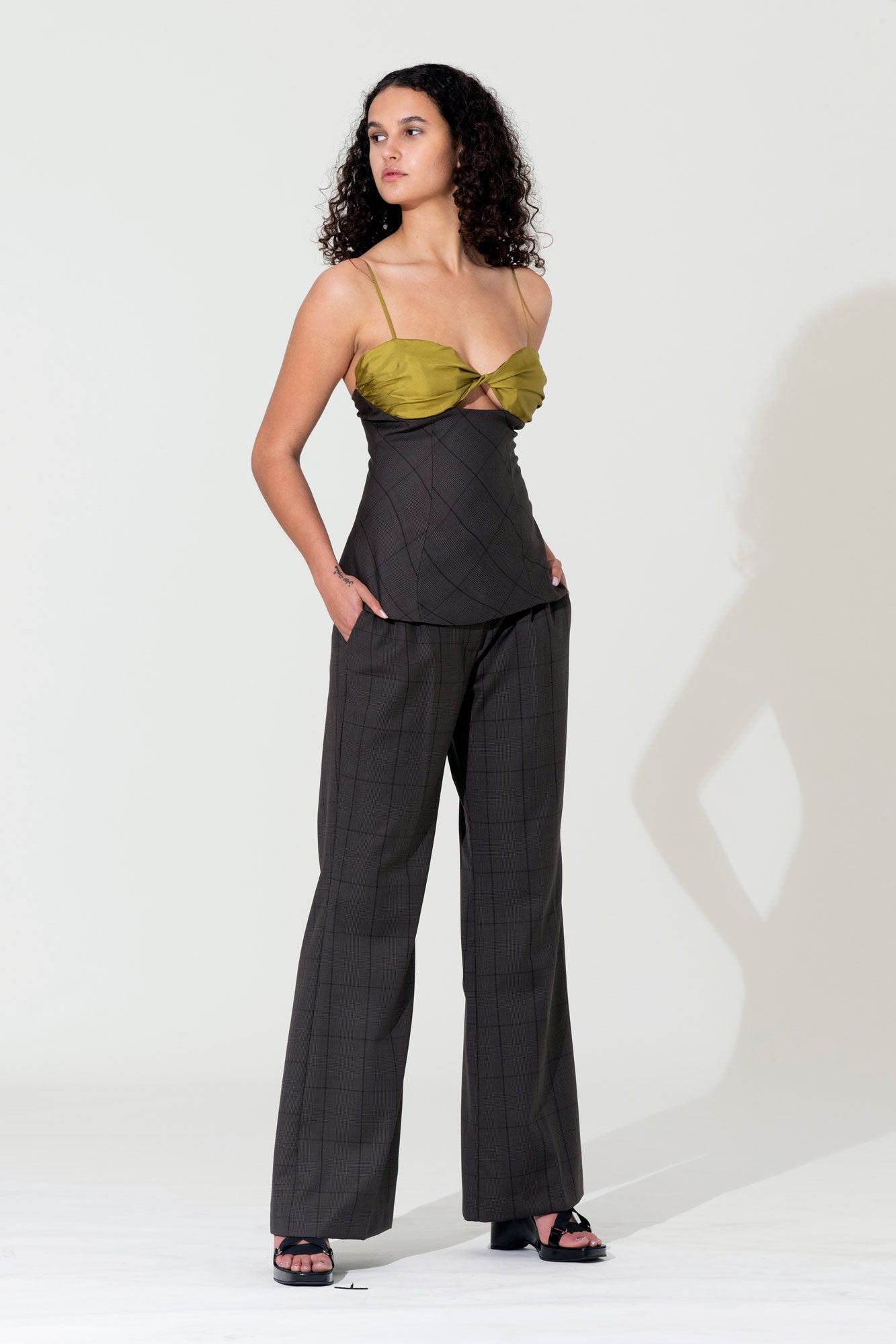 Twist Bustier Top - Khaki / Check