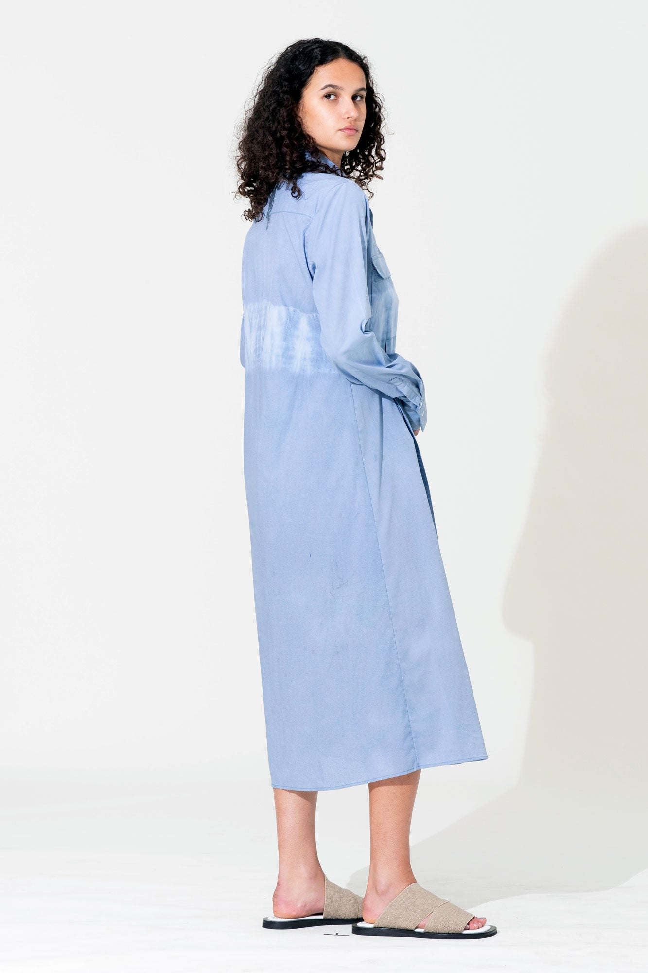 Pleat Tie-Dye Shirt Dress - Blue