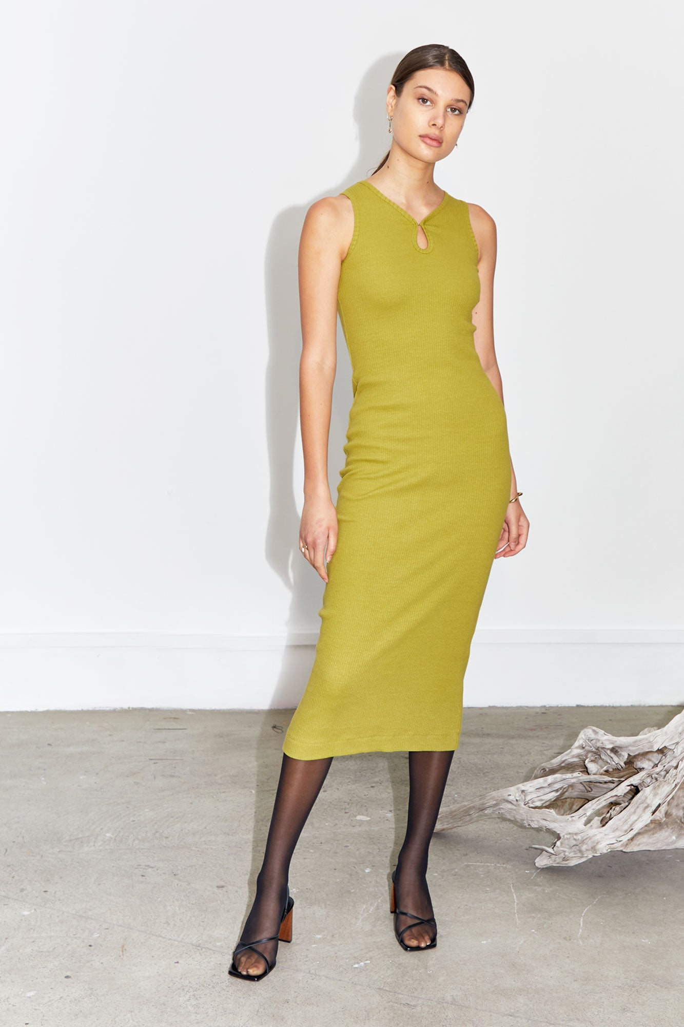 Ribbed Knit Key Hole Dress - Olive