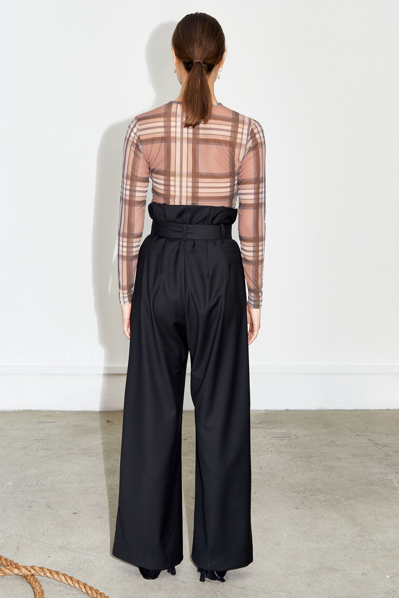 Mesh Silk Top - Brown Check