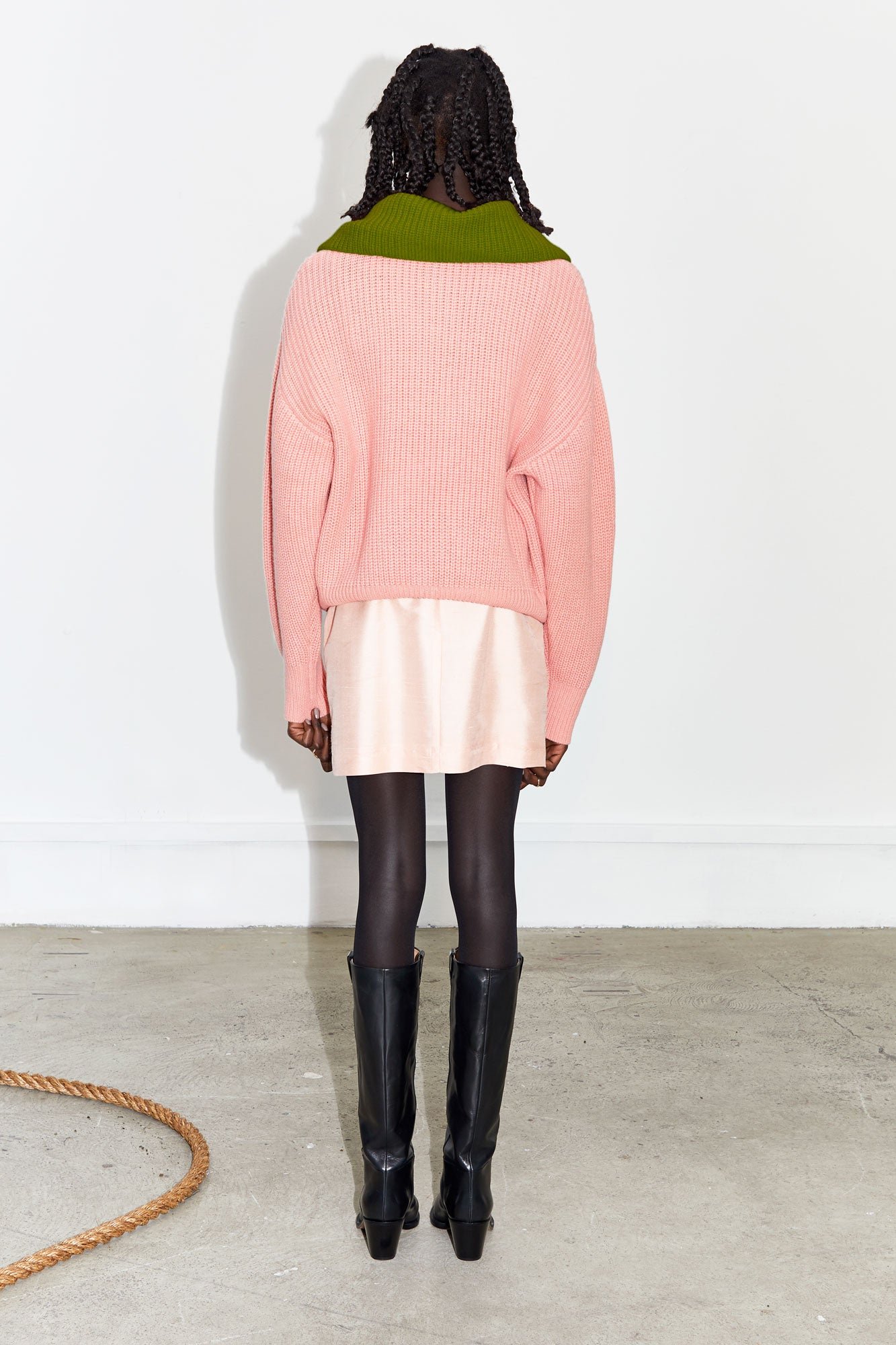 Contrast Fisherman's Sweater - Blush