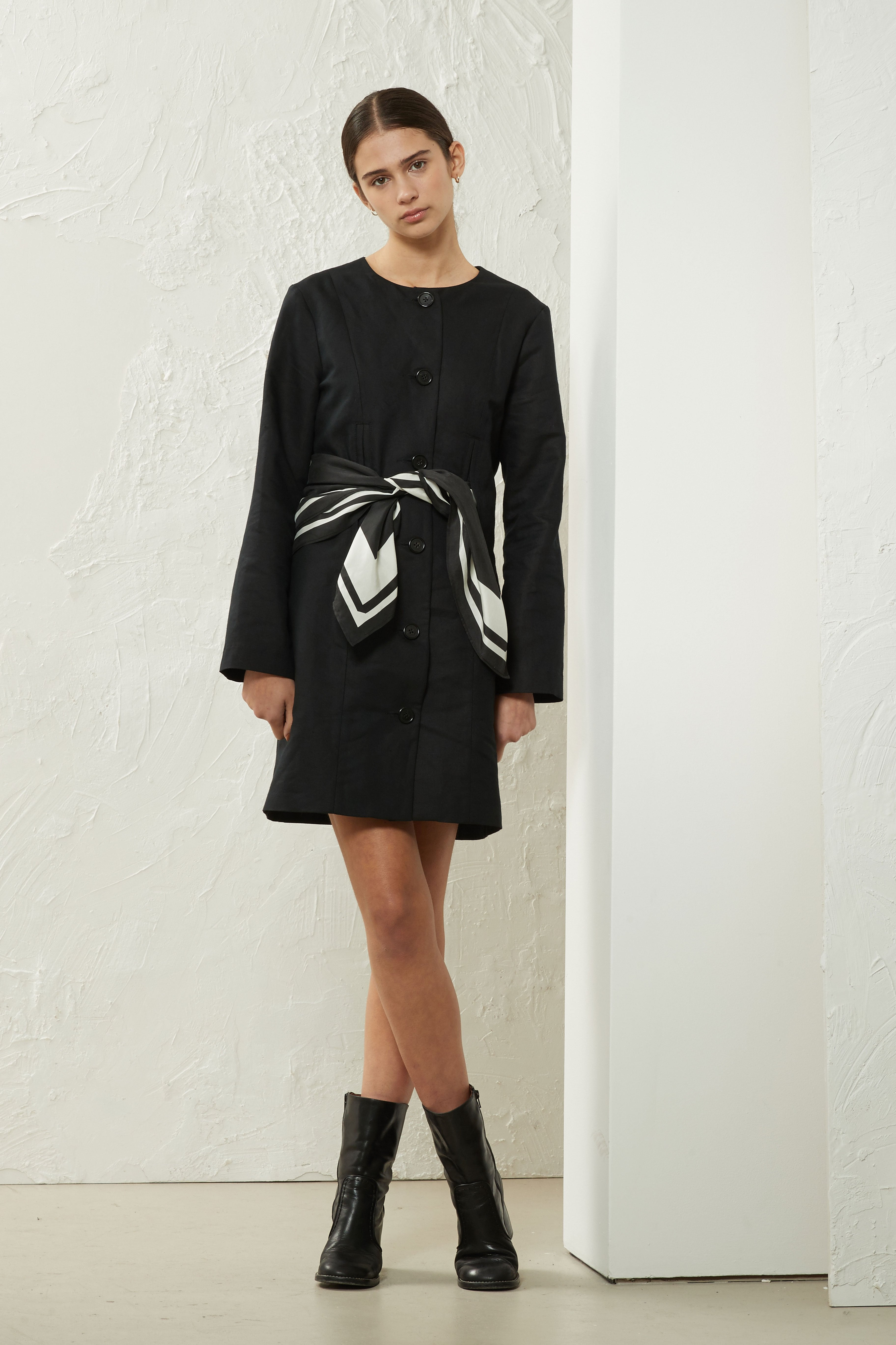 Scarf Mini Dress Black