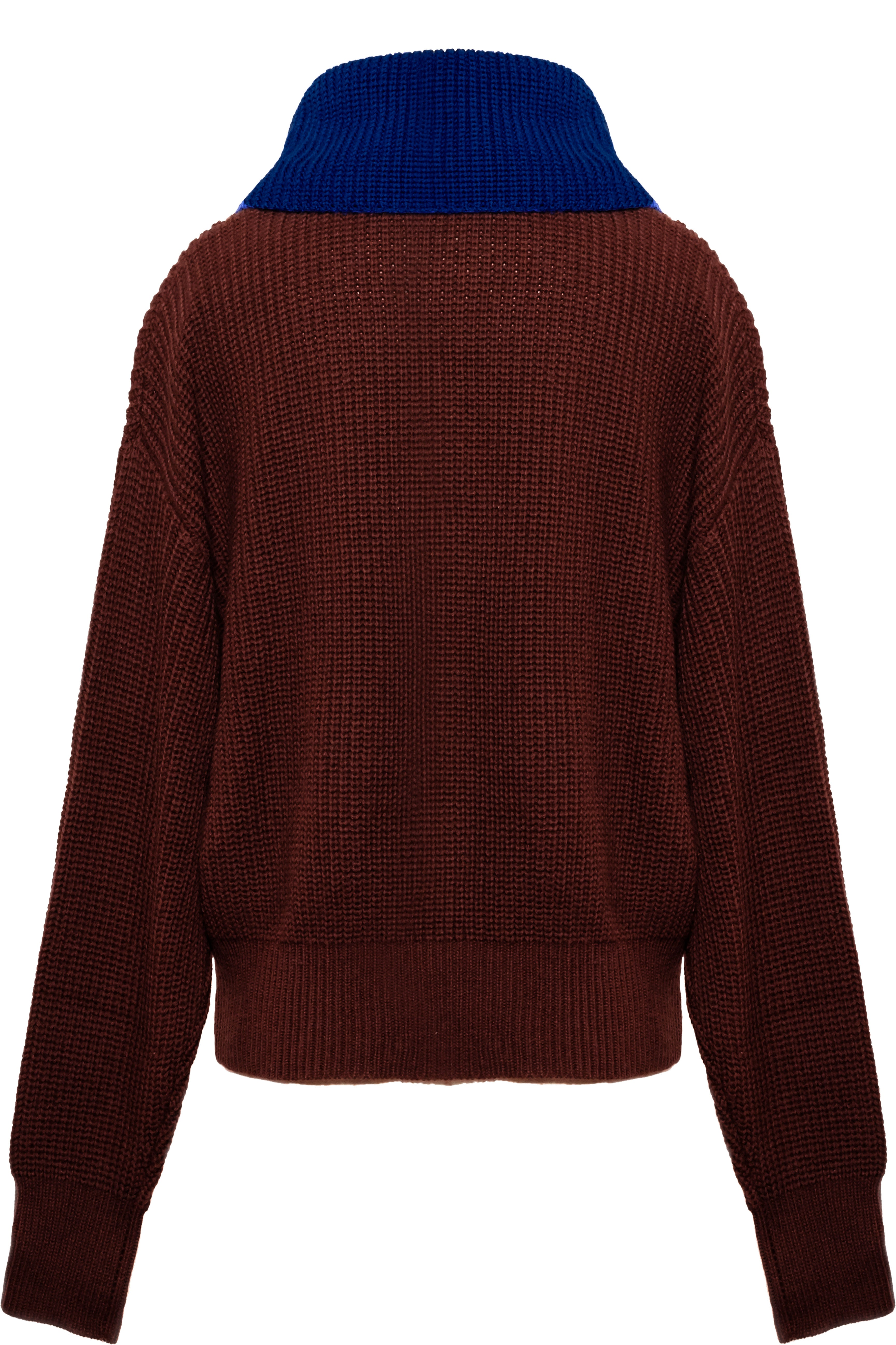 Contrast Fisherman's Sweater - Chocolate