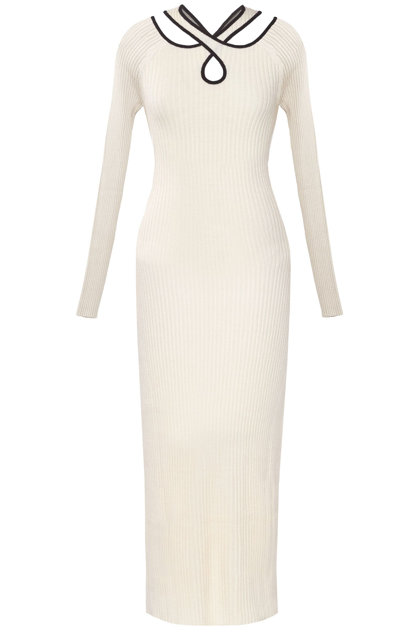 Cross Over Ribbed Knit Dress - Ivory