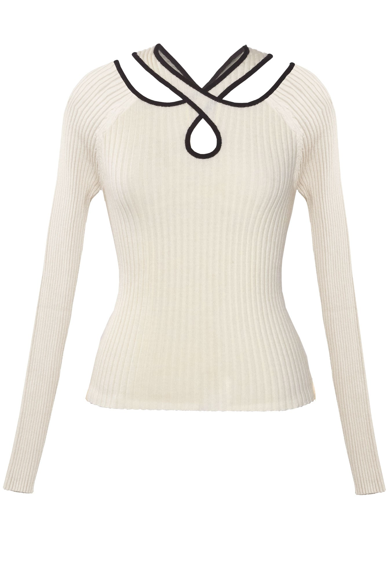 Cross Over Ribbed Knit Top - Ivory