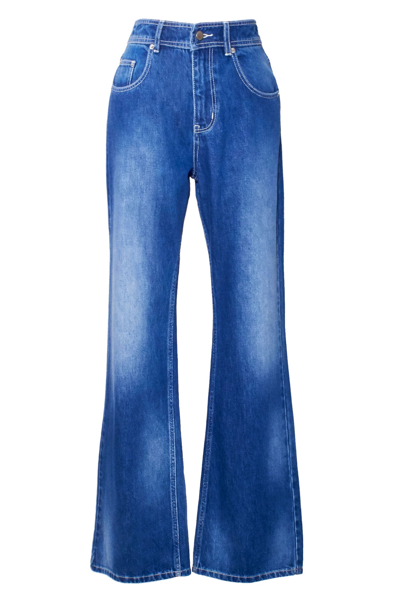 Stone Wash Denim Flares