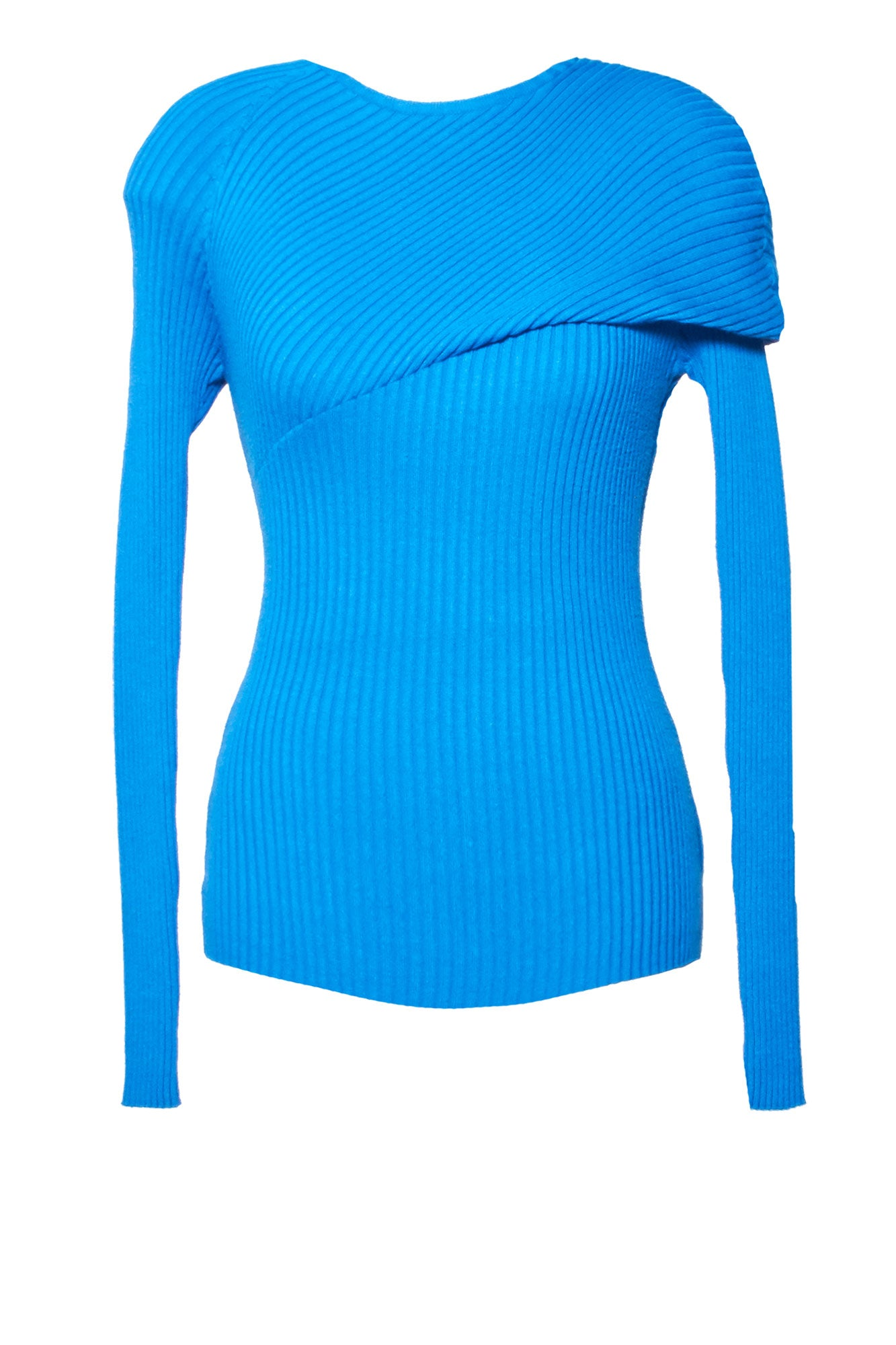 Fold Ribbed Knit Top - Cobalt
