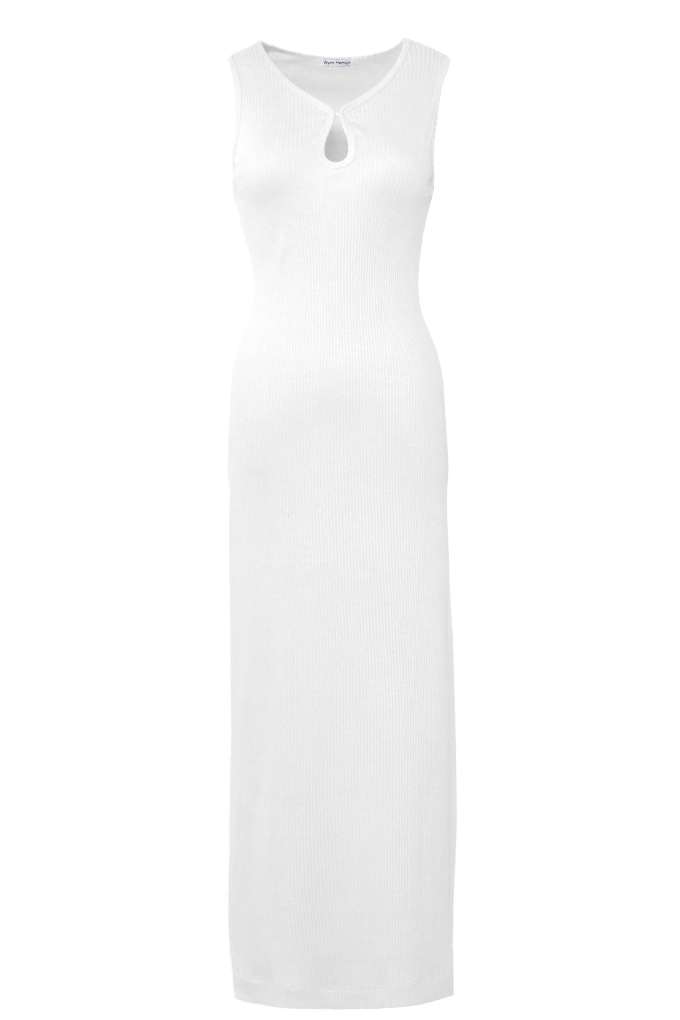Ribbed Knit Key Hole Dress - White