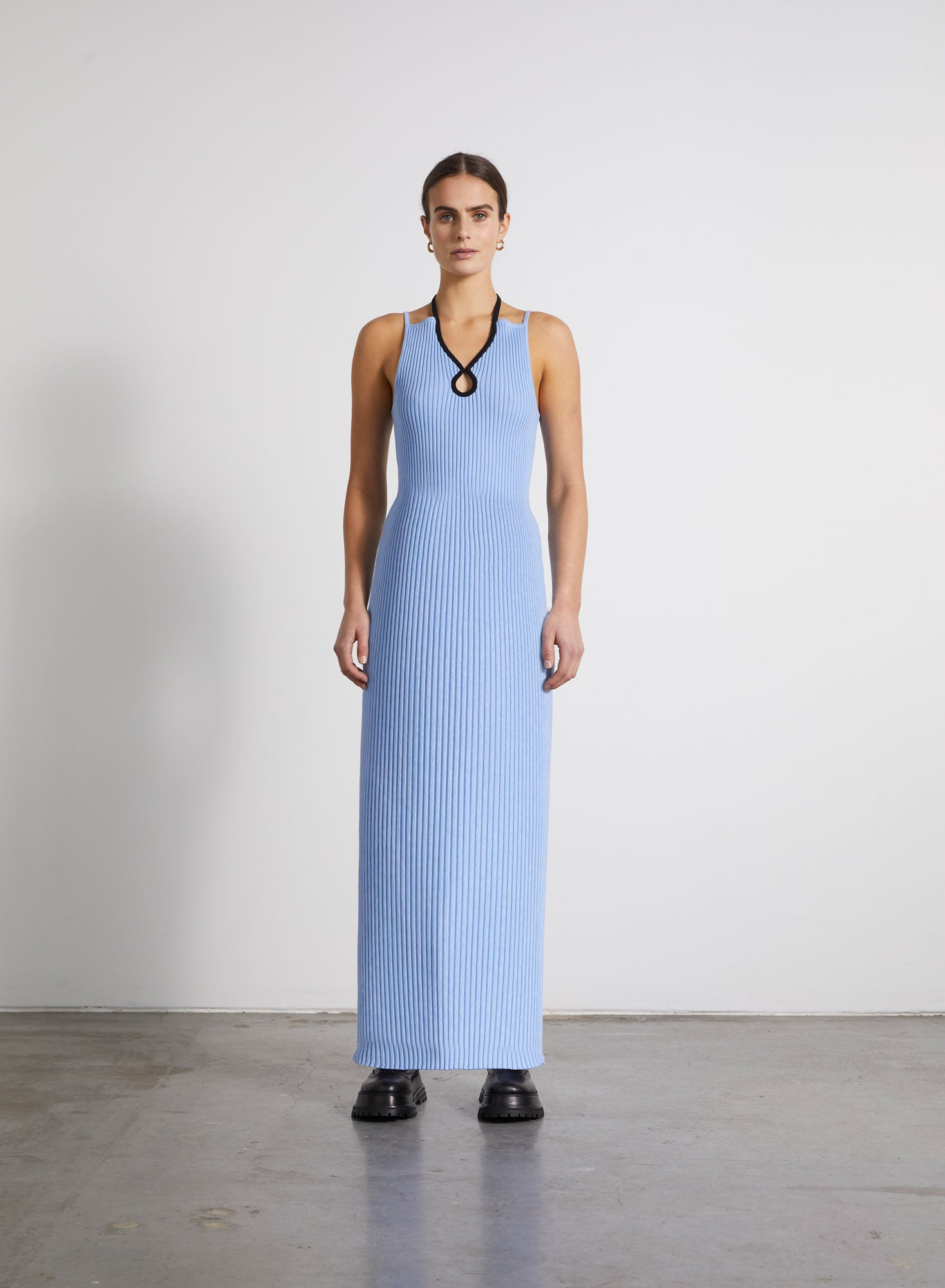 Loop Ribbed Knit Dress - Cornflower