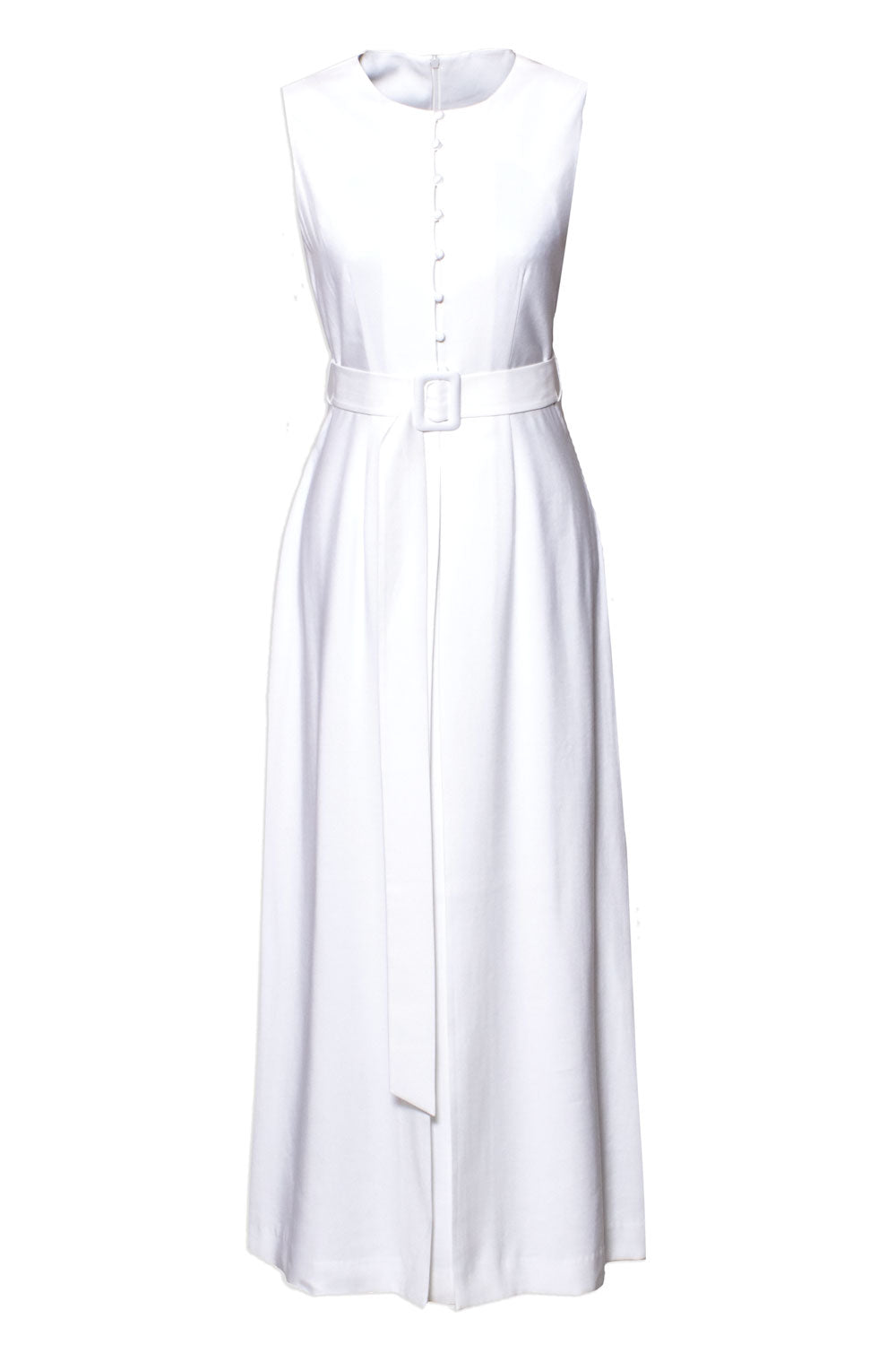 Rouleau Plissé Maxi Dress - White