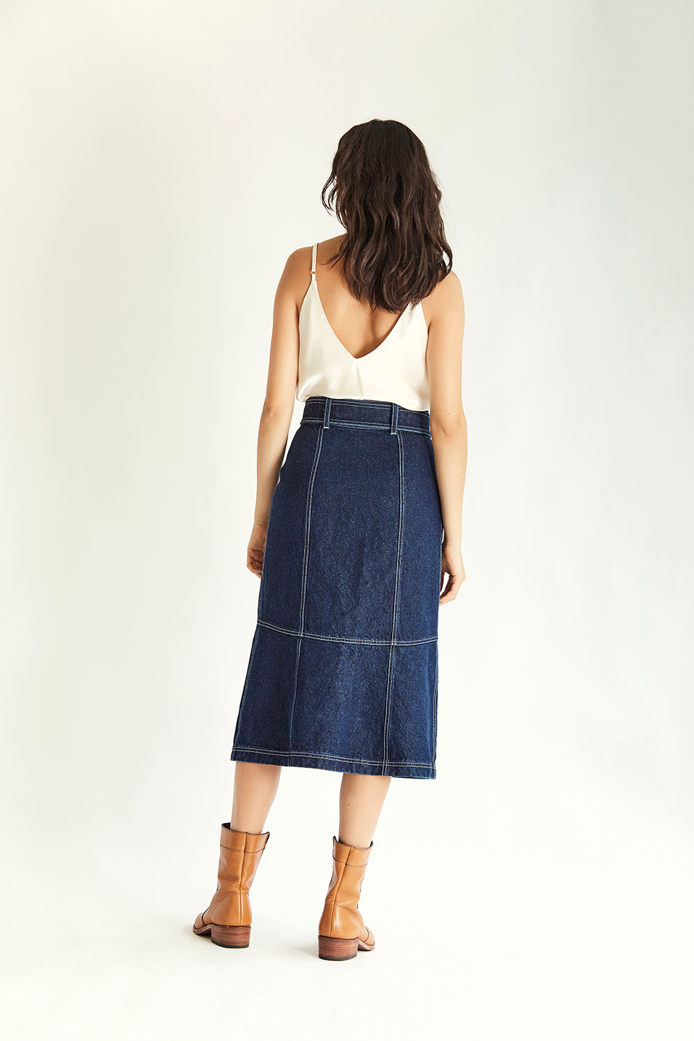 Clarke Denim Skirt - Indigo - Wynn Hamlyn — Shop