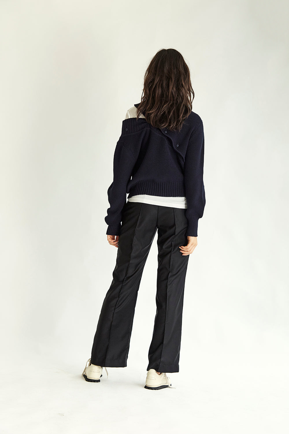 Cross Over Jumper - Navy - Wynn Hamlyn — Shop
