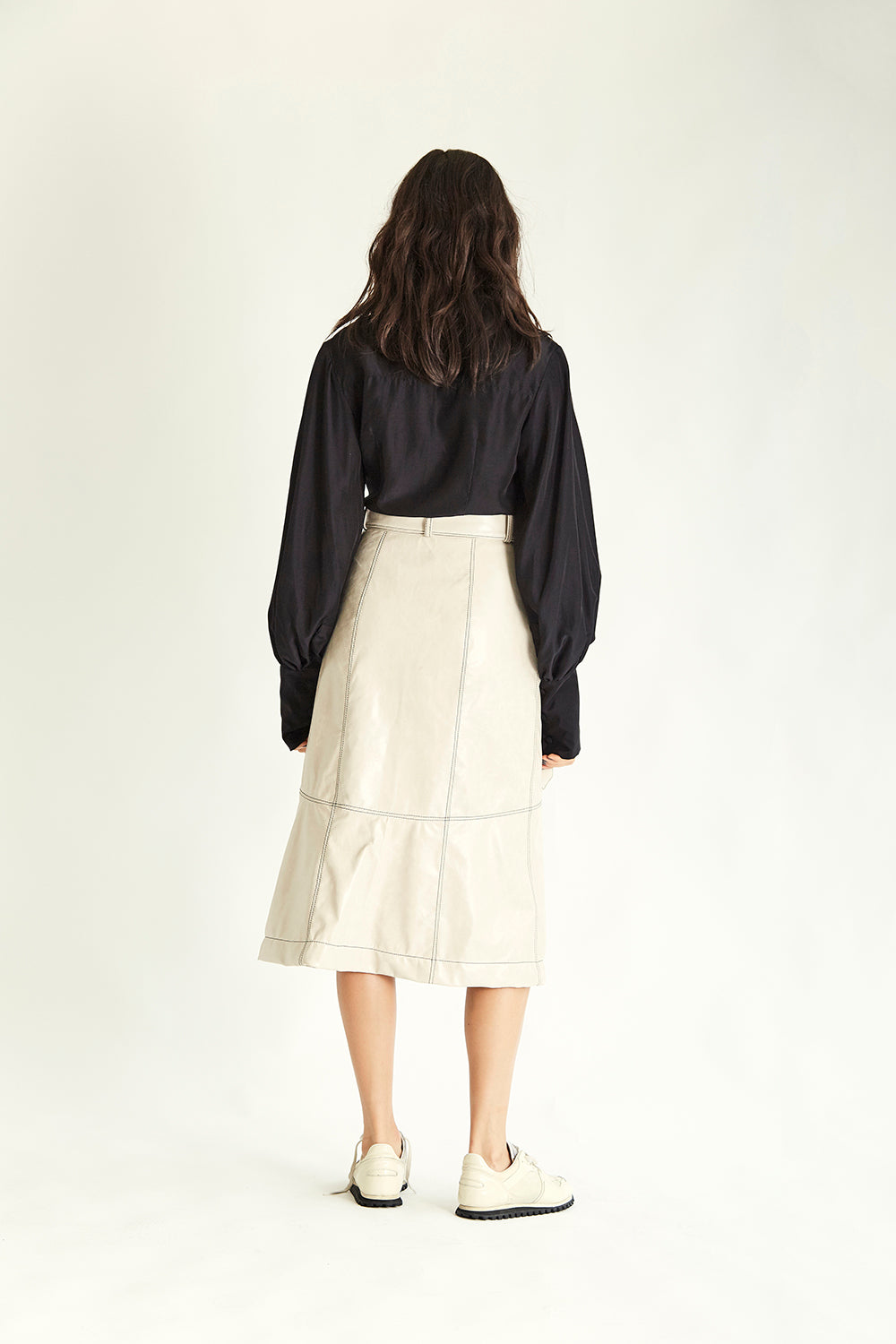 Dakota Leather Skirt - Cream - Wynn Hamlyn — Shop
