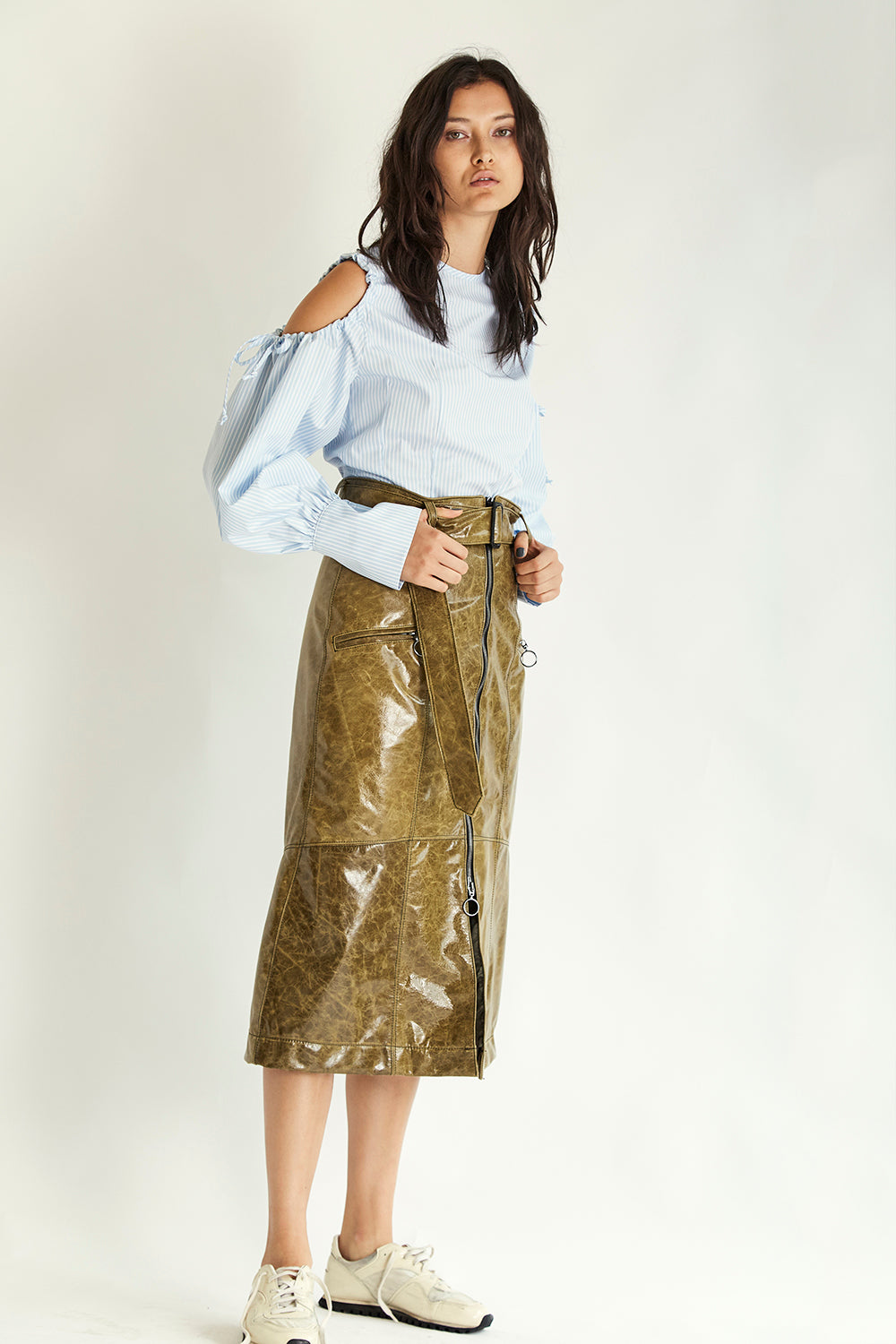 Dakota Leather Skirt - Forest - Wynn Hamlyn — Shop