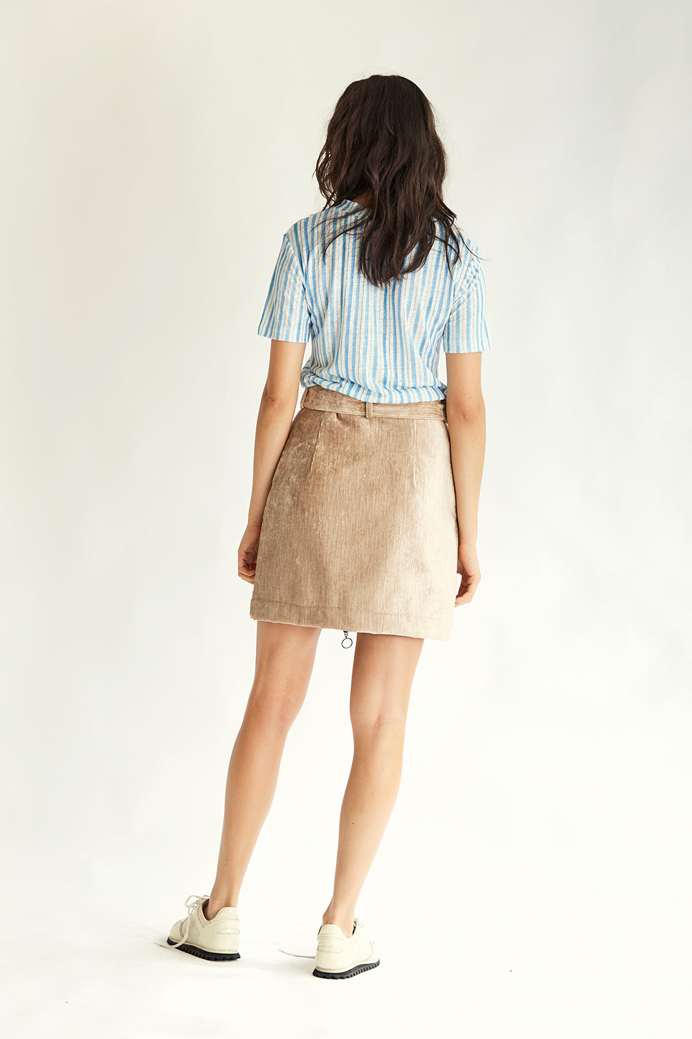 Earle Velvet Mini Skirt - Sand - Wynn Hamlyn — Shop