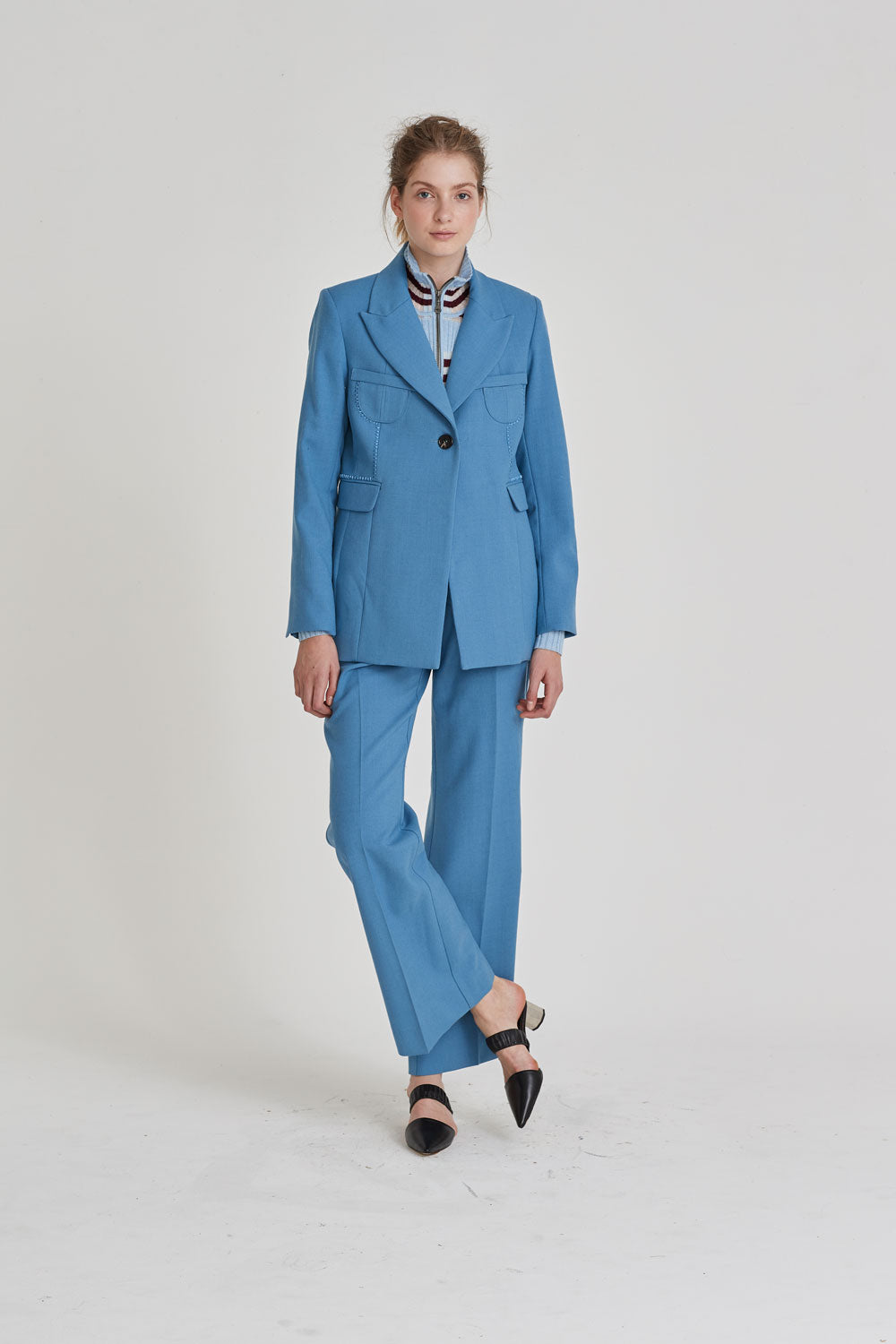 Partner Single Breasted Blazer Light Blue - Wynn Hamlyn — Shop