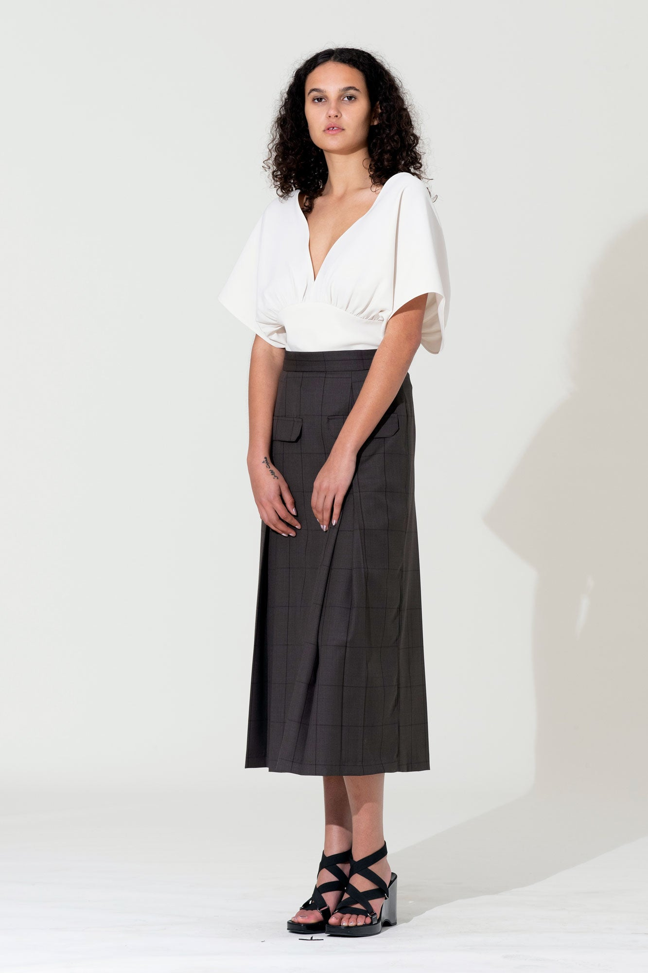 Pleat Pocket Skirt - Brown Check