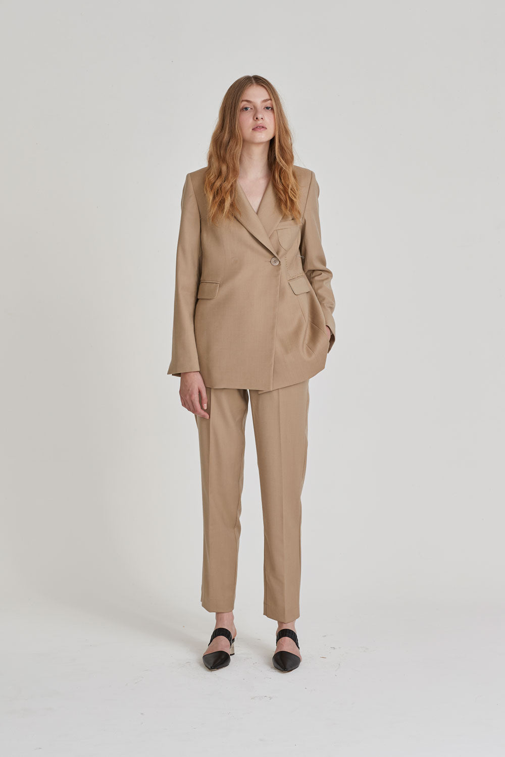 Partner Double Breasted Blazer Sand - Wynn Hamlyn — Shop