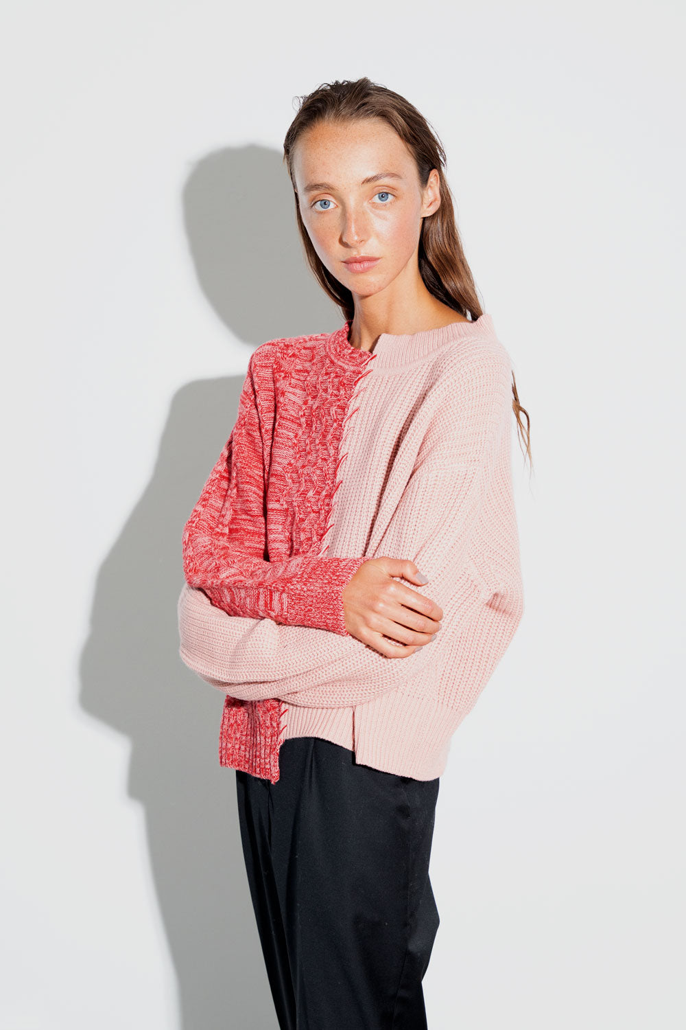 Basket Stitch Sweater Pink