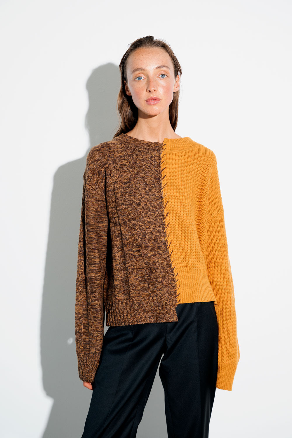 Basket Stitch Sweater - Orange