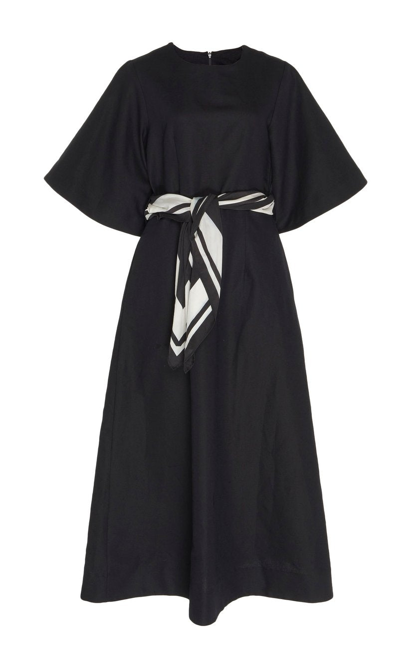Scarf Maxi Dress - Black