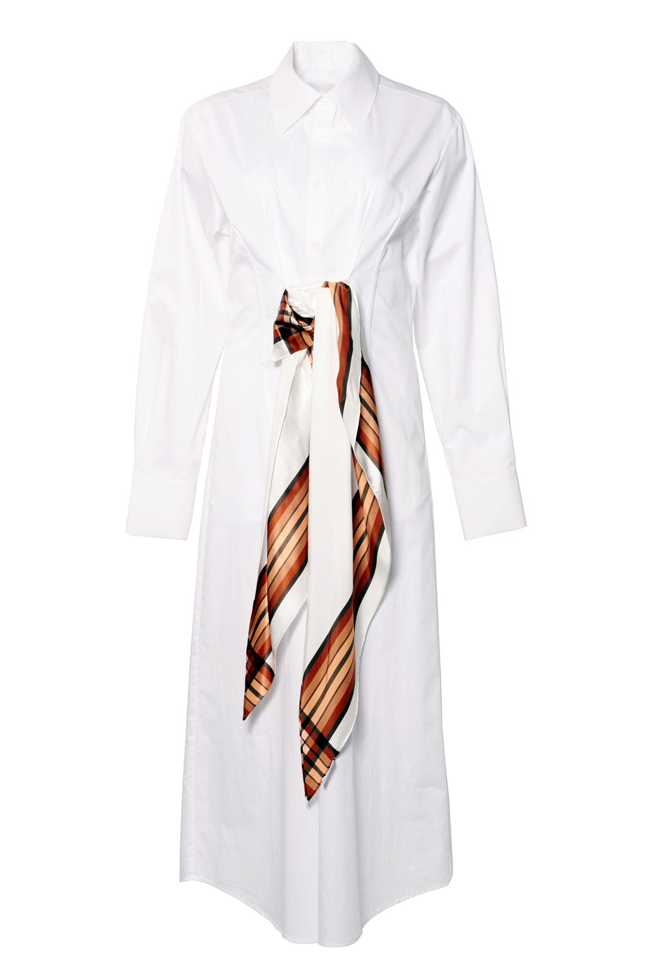 Scarf Shirt Dress - White