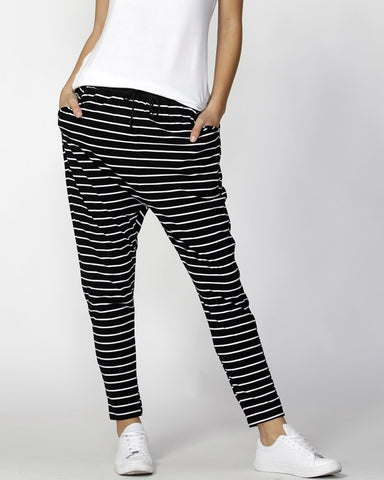 Betty Basic BB225 Jade Pant - Black/White Stripe
