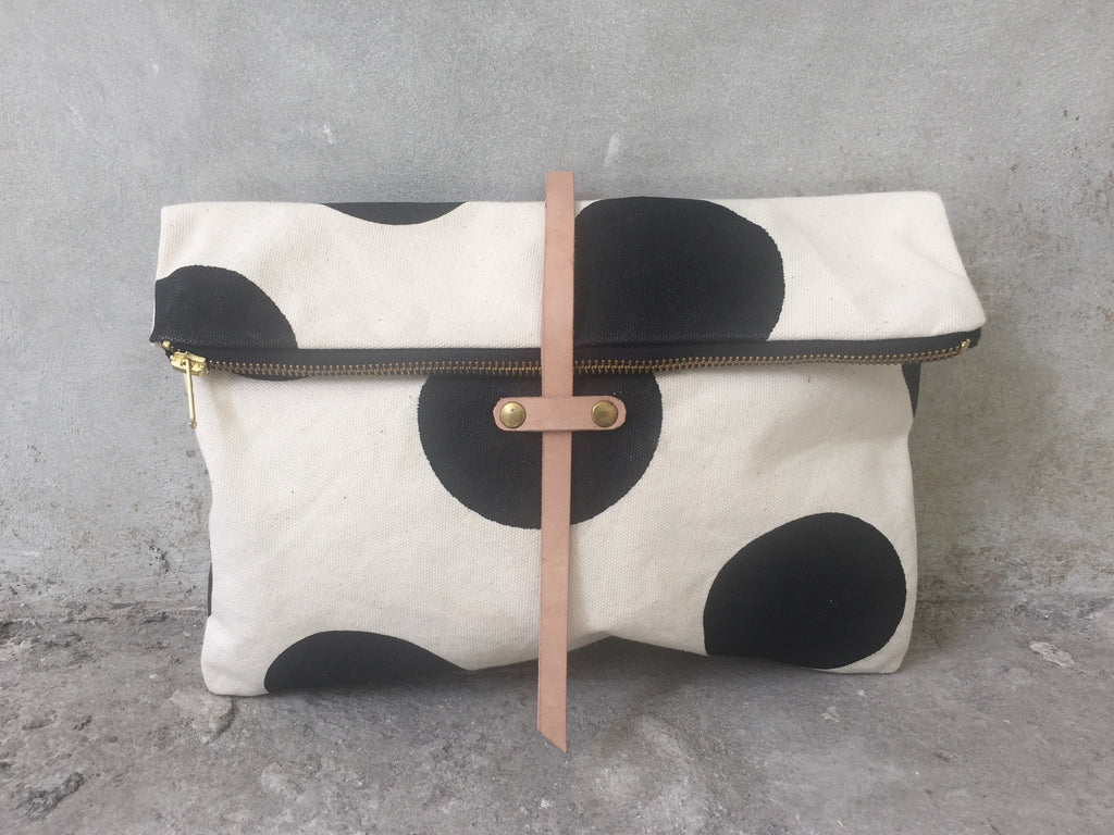 canvas clutch handmade with leather
