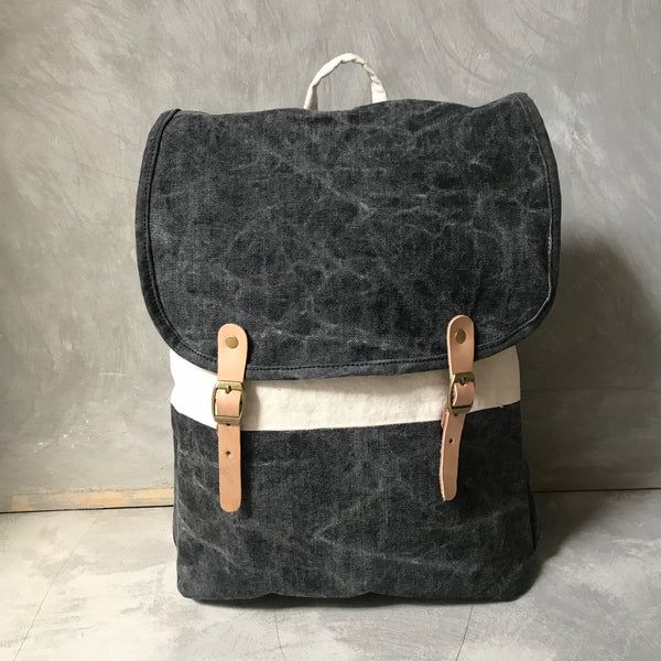 ANAK [young] - small handprinted & stonewashed canvas backpack