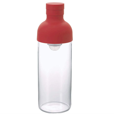 Hario Cold Brew Filter-in Tea or Water Bottle 300ml, Glass, Red