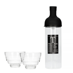 Hario Filter in Bottle and Tea Glass Set Black