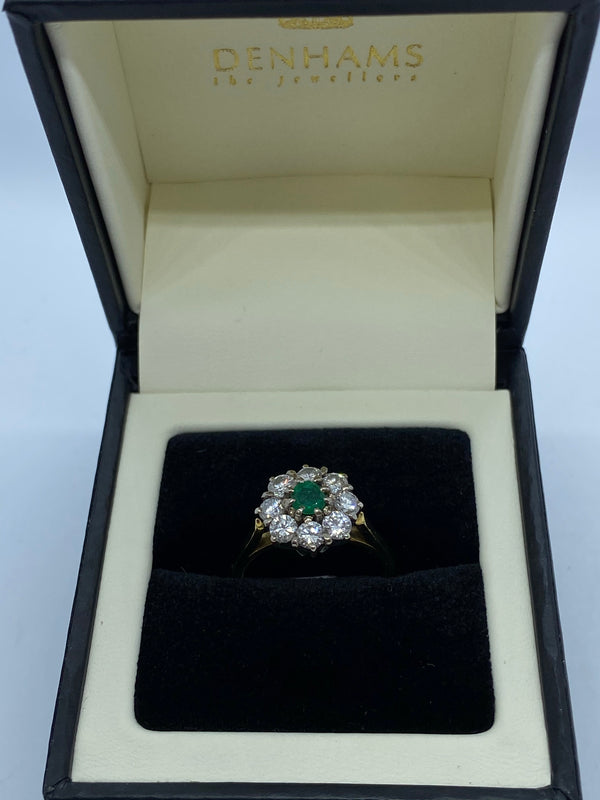 Emerald and diamond cluster ring 18ct gold