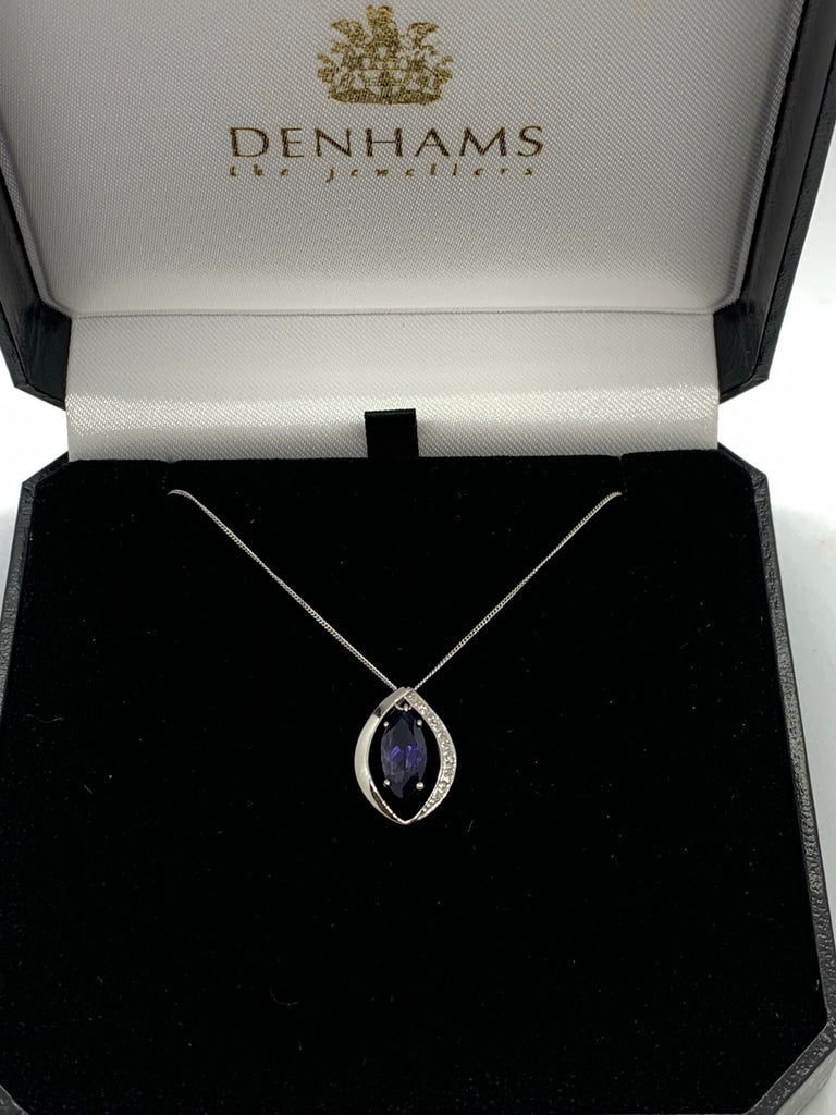 Iolite and Diamond Pendant