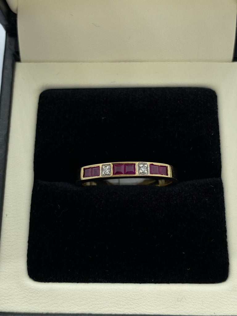 Ruby and diamond eternity ring 9ct gold
