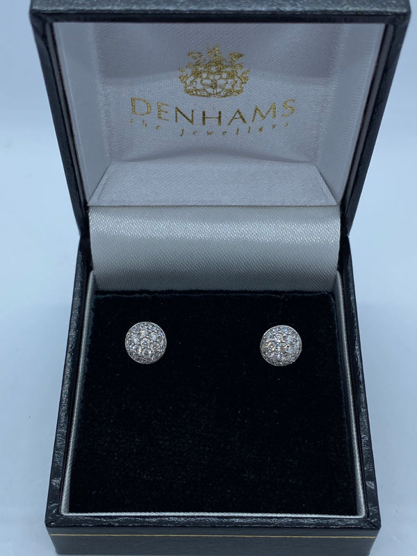 18ct white gold pave set diamond stud earrings