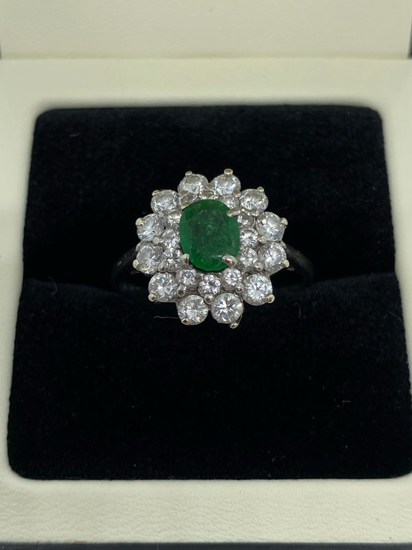 Emerald and diamond cluster ring 18ct white gold