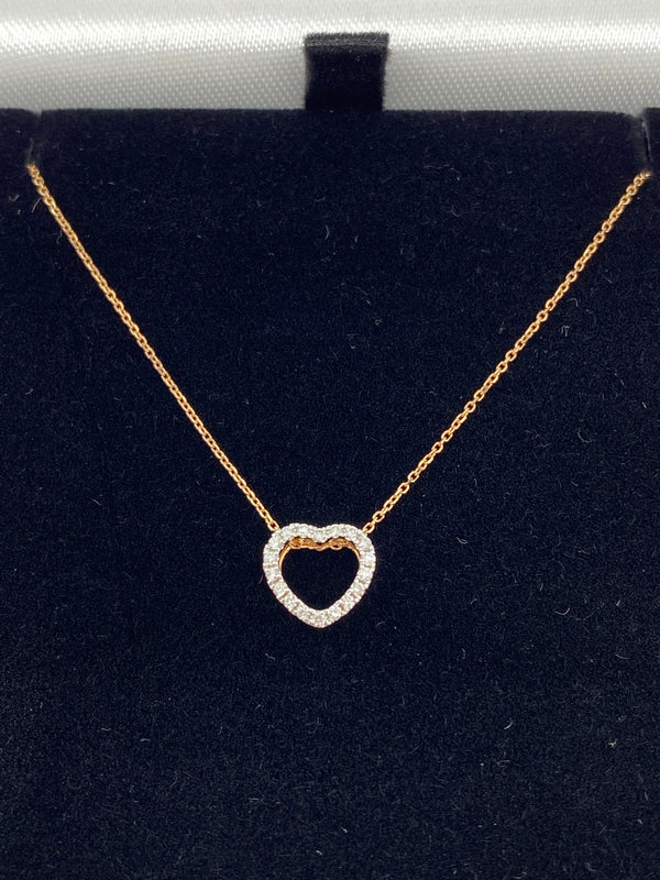 18ct rose gold diamond heart pendant