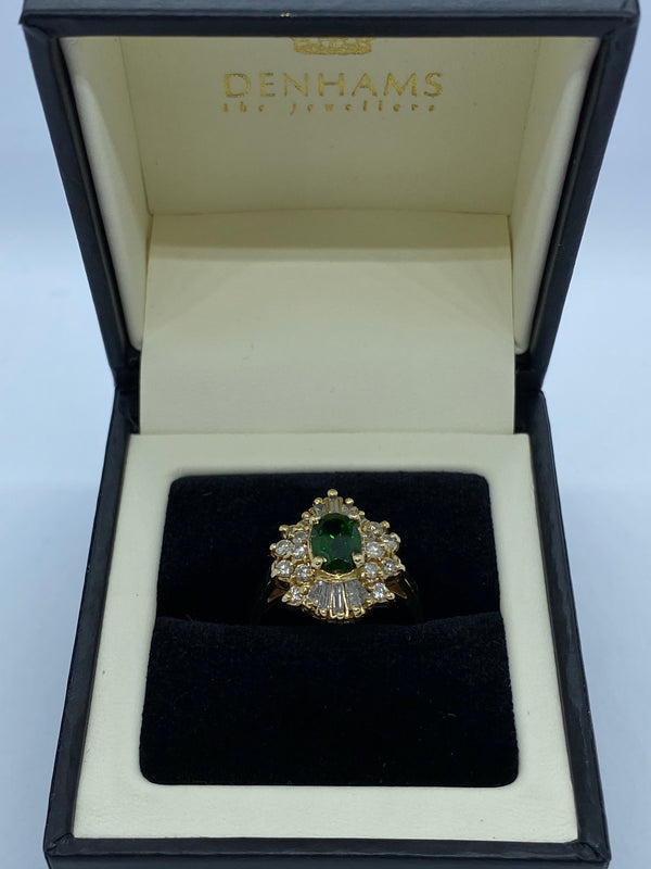 Green Tourmaline and diamond cluster ring 18ct gold