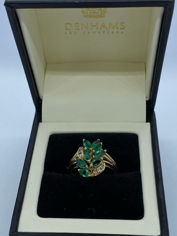 Emerald and diamond cluster ring 14ct gold