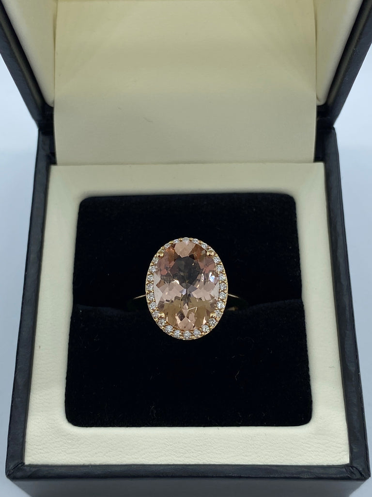 Pink Morganite and diamond cluster ring
