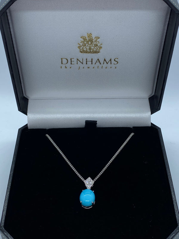 9ct white gold Turquoise and diamond pendant